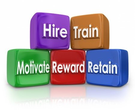 43225057 - hire, train, motivate, reward and retain human resources blocks to illustrate mission or goal of hr team or department in devleoping employees or workforce
