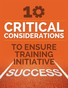 """ebook titled """"10 critical considerations to ensure training initiative success"""""""