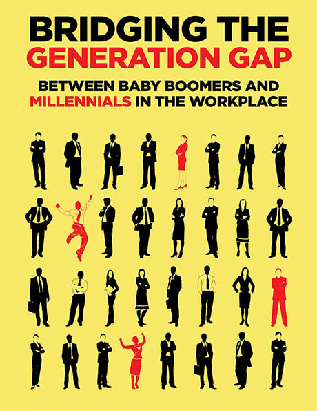 graphic which shows a grid of people most of whom are colored in black with a few of them colored in red the text says bridging the generation gap between baby boomers and millennials in the workplace