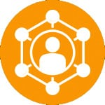 icon of a person inside of a hexagon