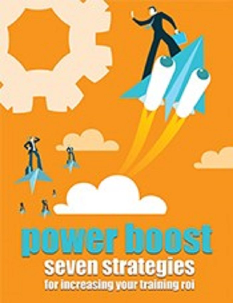 """business people riding paper airplanes with text saying """"power boost Seven Strategies for Increasing Your Training ROI"""""""